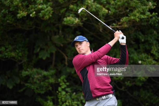 Jordan Spieth of the United States tees off on the 5th hole during the second round of the 146th Open Championship at Royal Birkdale on July 21 2017...