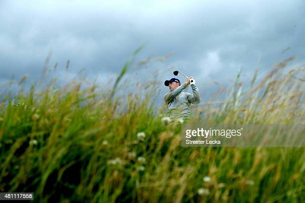 Jordan Spieth of the United States tees off on the 9th hole during the second round of the 144th Open Championship at The Old Course on July 17 2015...