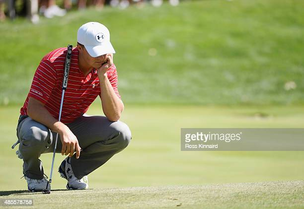Jordan Spieth of the United States waits on the fifth green during the second round of The Barclays at Plainfield Country Club on August 28 2015 in...