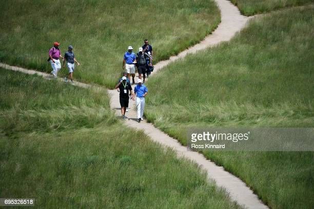 Jordan Spieth of the United States walks during a practice round prior to the 2017 US Open at Erin Hills on June 12 2017 in Hartford Wisconsin