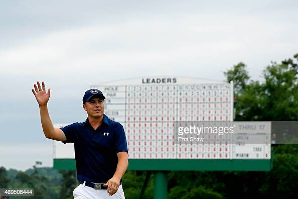 Jordan Spieth of the United States walks off the 18th green after his fourstroke victory at the 2015 Masters Tournament at Augusta National Golf Club...