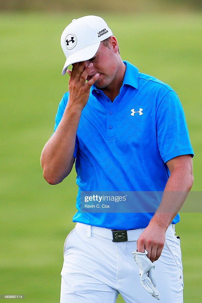 Jordan Spieth of the United States walks on the 15th hole during the first round of the 2015 PGA Championship at Whistling Straits on August 13, 2015 in Sheboygan, Wisconsin.