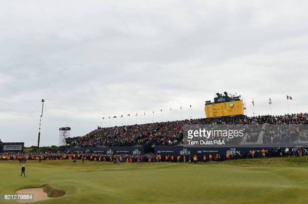 Jordan Spieth of the United States walks onto the 18th green during the final round of the 146th Open Championship at Royal Birkdale on July 23 2017...