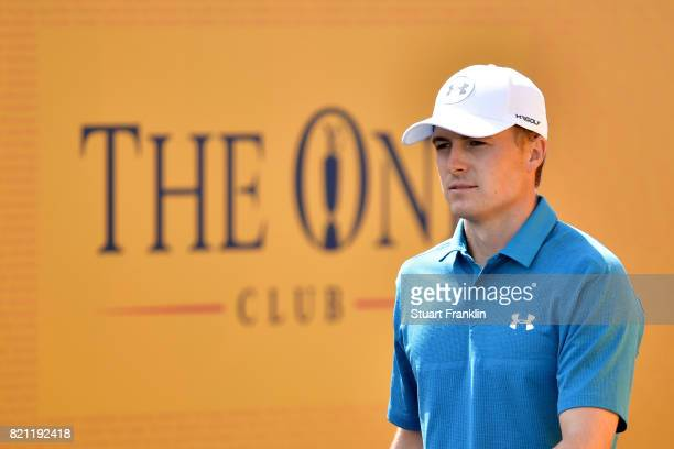 Jordan Spieth of the United States walks onto the 1st tee during the final round of the 146th Open Championship at Royal Birkdale on July 23 2017 in...