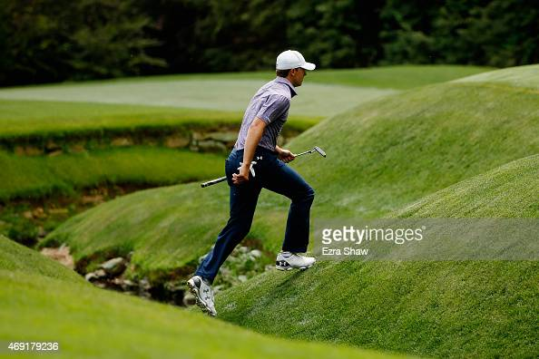 Jordan Spieth of the United States walks to the 13th greenduring the second round of the 2015 Masters Tournament at Augusta National Golf Club on...