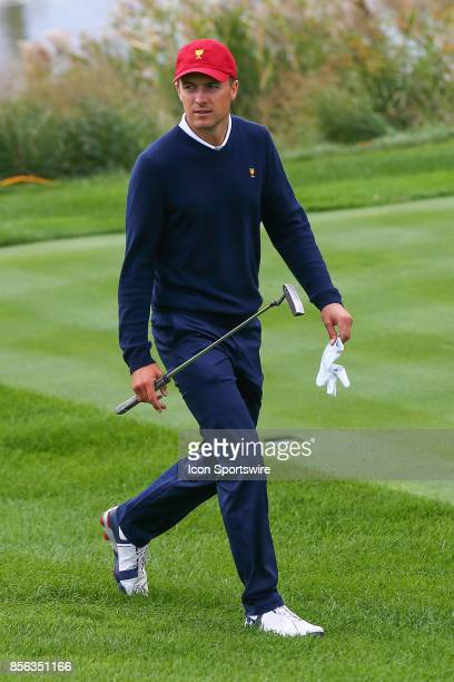 Jordan Spieth of the United States walks to the 4th hole during Saturday fourball matches of the Presidents Cup at Liberty National Golf Club on...