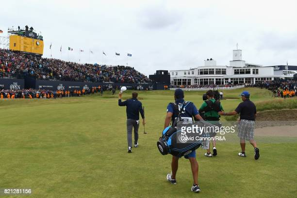 Jordan Spieth of the United States walks up the 18th fairway during the final round of the 146th Open Championship at Royal Birkdale on July 23 2017...