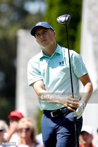 Jordan Spieth of the United States watches his drive on 6 during the third round of the Travelers Championship on June 24 at TPC River Highlands in...