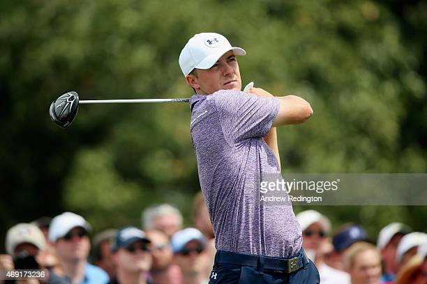 Jordan Spieth of the United States watches his tee shot on the tenth hole during the second round of the 2015 Masters Tournament at Augusta National...