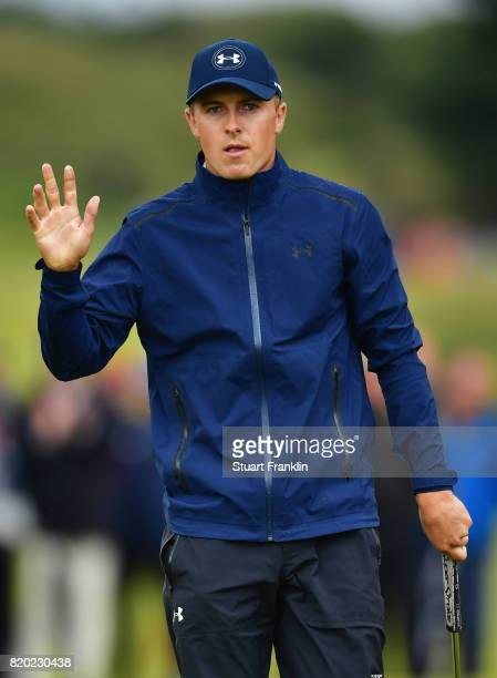 Jordan Spieth of the United States waves to the crowd on the 8th green during the second round of the 146th Open Championship at Royal Birkdale on...