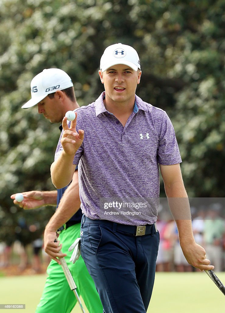 <a gi-track='captionPersonalityLinkClicked' href=/galleries/search?phrase=Jordan+Spieth&family=editorial&specificpeople=5440480 ng-click='$event.stopPropagation()'>Jordan Spieth</a> of the United States waves to the gallery after saving par on the first hole as <a gi-track='captionPersonalityLinkClicked' href=/galleries/search?phrase=Billy+Horschel&family=editorial&specificpeople=565390 ng-click='$event.stopPropagation()'>Billy Horschel</a> walks past during the second round of the 2015 Masters Tournament at Augusta National Golf Club on April 10, 2015 in Augusta, Georgia.