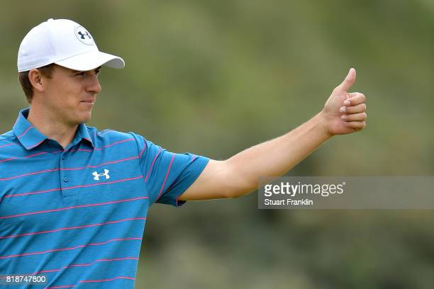 Jordan Spieth of the United States with a thumbs up during a practice round prior to the 146th Open Championship at Royal Birkdale on July 19 2017 in...