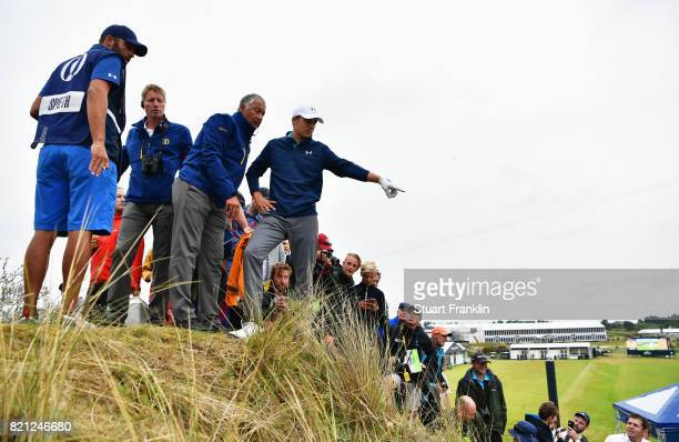 Jordan Spieth of the United States with Rules Officials on the 13th hole during the final round of the 146th Open Championship at Royal Birkdale on...