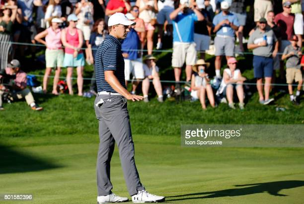Jordan Spieth of the United Statesasks for quiet so his opponent can try and tie to send the playoff to another hole during the final round of the...