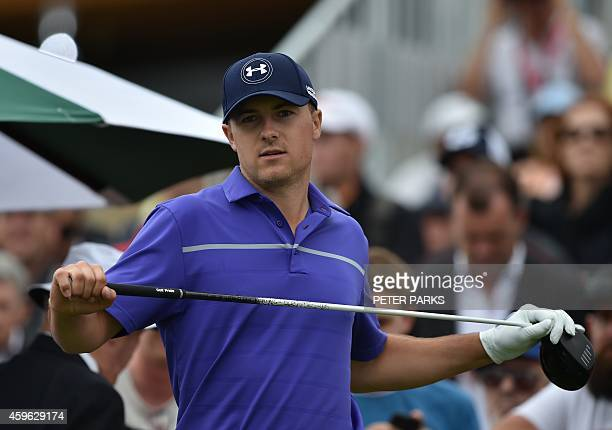 Jordan Spieth of the US gets ready to tee off on the 1st hole during the first round of the Australian Open at the Australian Golf Club in Sydney on...