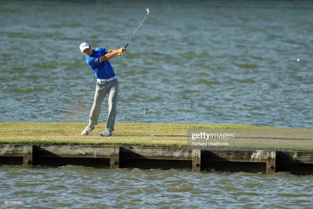 Jordan Spieth of the USA hits his third shot on the 13th hole of his match during round two of the World Golf Championships-Dell Technologies Match Play at the Austin Country Club on March 23, 2017 in Austin, Texas.