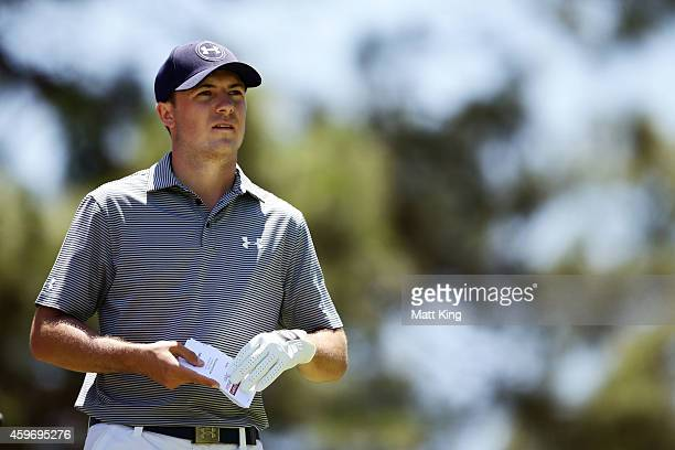 Jordan Spieth of the USA prepares to tee off on the 4th hole during day three of the Australian Open at The Australian Golf Course on November 29...