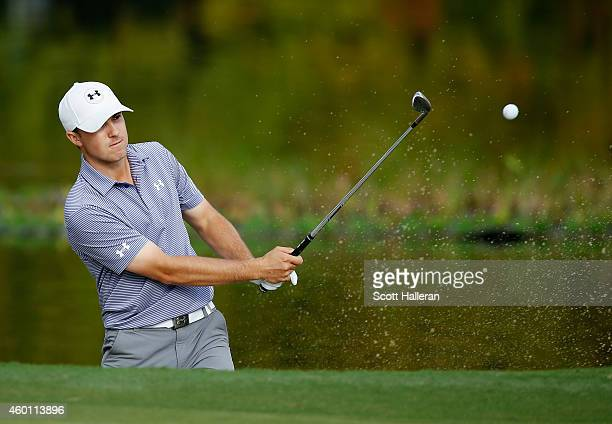 Jordan Spieth plays a bunker shot on the 11th hole during the final round of the Hero World Challenge at the Isleworth Golf Country Club on December...