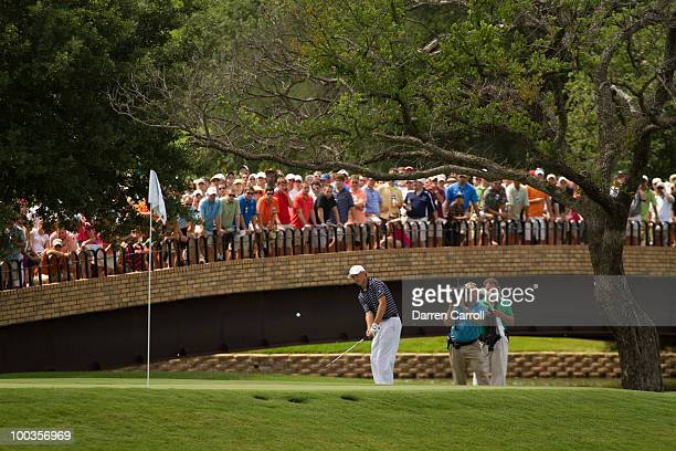Jordan Spieth plays a chip shot during the fourth round of the HP Byron Nelson Championship at TPC Four Seasons Resort Las Colinas on May 23 2010 in...