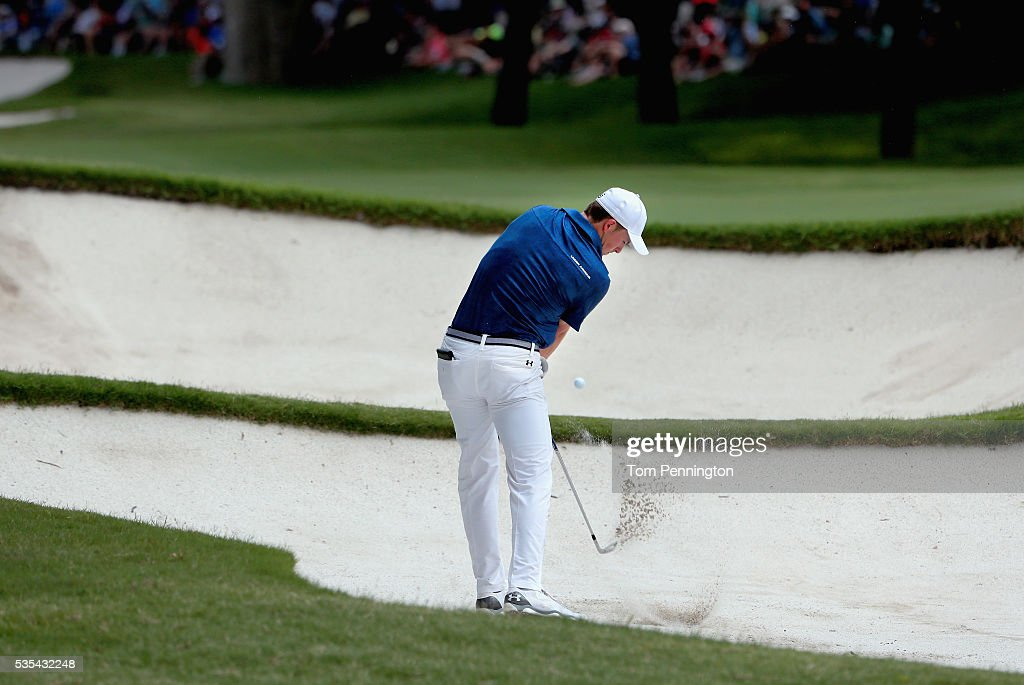 <a gi-track='captionPersonalityLinkClicked' href=/galleries/search?phrase=Jordan+Spieth&family=editorial&specificpeople=5440480 ng-click='$event.stopPropagation()'>Jordan Spieth</a> plays a shot from a bunker on the 14th hole during the Final Round of the DEAN & DELUCA Invitational at Colonial Country Club on May 29, 2016 in Fort Worth, Texas.