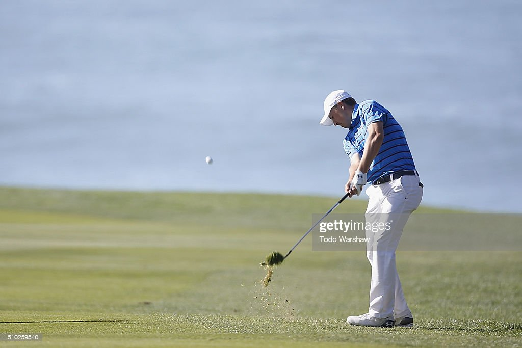 <a gi-track='captionPersonalityLinkClicked' href=/galleries/search?phrase=Jordan+Spieth&family=editorial&specificpeople=5440480 ng-click='$event.stopPropagation()'>Jordan Spieth</a> plays a shot from the 11th fairway during the final round of the AT&T Pebble Beach National Pro-Am at the Pebble Beach Golf Links on February 14, 2016 in Pebble Beach, California.