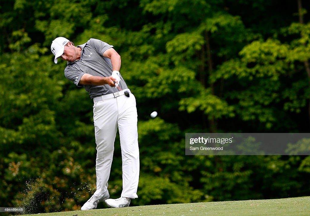 Jordan Spieth plays a shot on the 15th hole during the first round of the Memorial Tournament presented by Nationwide Insurance at Muirfield Village Golf Club on May 29, 2014 in Dublin, Ohio.