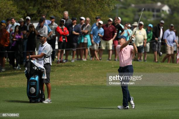 Jordan Spieth plays a shot on the 18th hole of his match during round three of the World Golf ChampionshipsDell Technologies Match Play at the Austin...