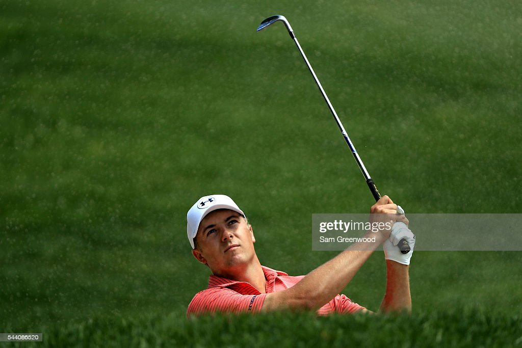 Jordan Spieth plays a shot on the first hole during the second round of the World Golf Championships - Bridgestone Invitational at Firestone Country Club South Course on July 1, 2016 in Akron, Ohio.