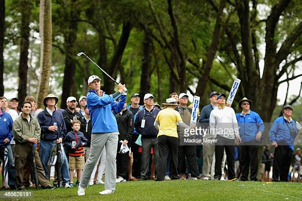 Jordan Spieth plays a shot on the first hole during the third round of the RBC Heritage at Harbour Town Golf Links on April 19 2014 in Hilton Head...