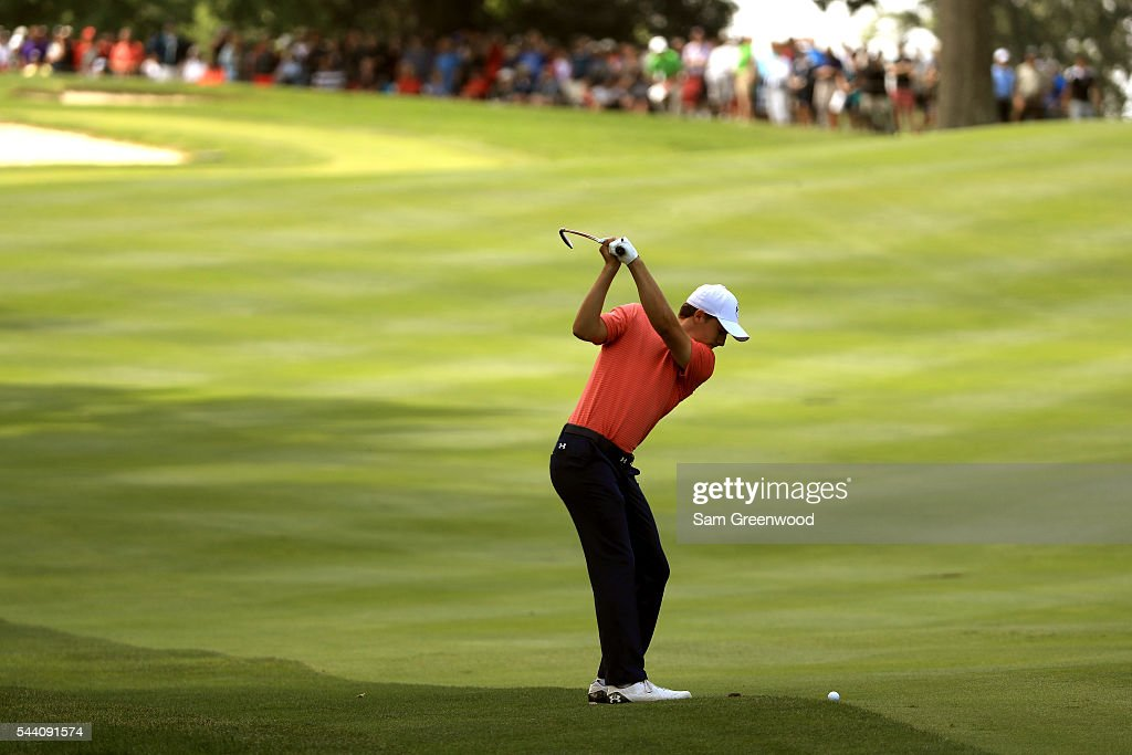 <a gi-track='captionPersonalityLinkClicked' href=/galleries/search?phrase=Jordan+Spieth&family=editorial&specificpeople=5440480 ng-click='$event.stopPropagation()'>Jordan Spieth</a> plays a shot on the second hole during the second round of the World Golf Championships - Bridgestone Invitational at Firestone Country Club South Course on July 1, 2016 in Akron, Ohio.
