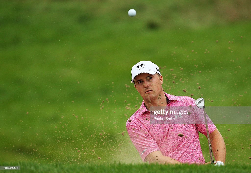 Jordan Spieth plays a shot on the seventh hole during the Second Round of the BMW Championship at Conway Farms Golf Club on September 18, 2015 in Lake Forest, Illinois.