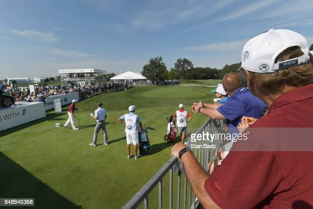 Jordan Spieth plays a tee shot on the first hole during the final round of the BMW Championship at Conway Farms Golf Club on September 17 2017 in...