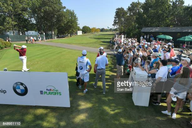 Jordan Spieth plays a tee shot on the third hole during the final round of the BMW Championship at Conway Farms Golf Club on September 17 2017 in...