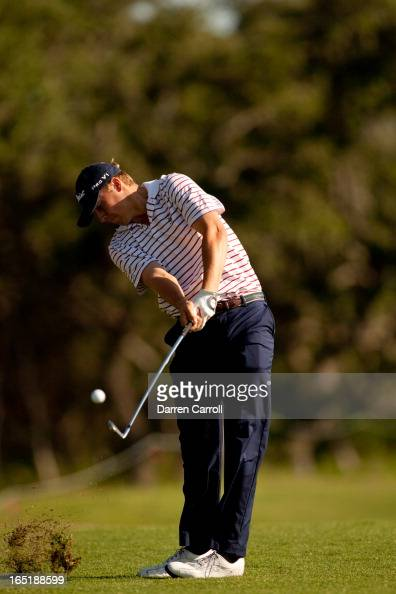 Jordan Spieth plays an approach shot during the first round of the Valero Texas Open at the ATT Oaks Course at TPC San Antonio on April 19 2012 in...