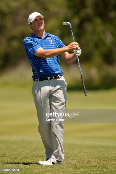 Jordan Spieth plays an approach shot during the third round of the Valero Texas Open at the ATT Oaks Course at TPC San Antonio on April 21 2012 in...