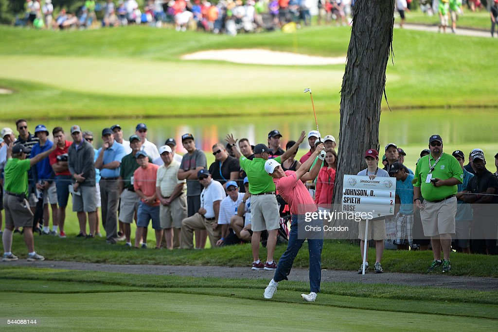 Jordan Spieth plays his second shot on the second hole during the second round of the World Golf Championships-Bridgestone Invitational at Firestone Country Club on July 1, 2016 in Akron, Ohio.