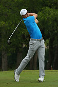 Jordan Spieth plays his shot from the 12th tee during Round Two at the ATT Byron Nelson on May 20 2016 in Irving Texas