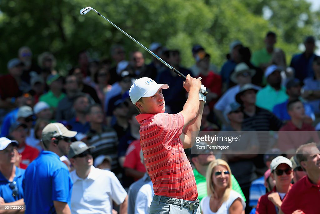 <a gi-track='captionPersonalityLinkClicked' href=/galleries/search?phrase=Jordan+Spieth&family=editorial&specificpeople=5440480 ng-click='$event.stopPropagation()'>Jordan Spieth</a> plays his shot from the 13th tee during the Second Round of the DEAN & DELUCA Invitational at Colonial Country Club on May 27, 2016 in Fort Worth, Texas.
