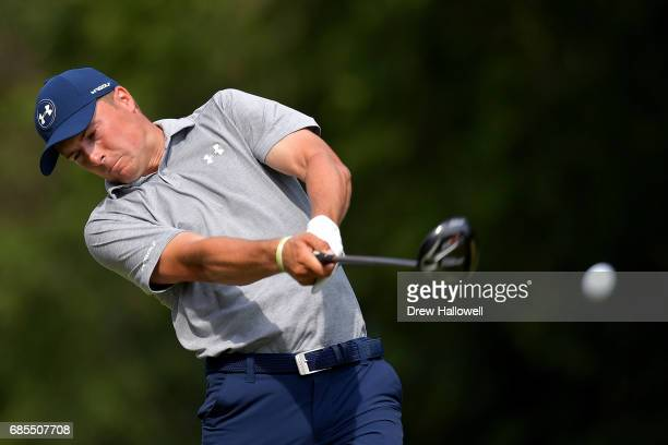Jordan Spieth plays his shot from the 15th tee during Round Two of the ATT Byron Nelson at the TPC Four Seasons Resort Las Colinas on May 19 2017 in...
