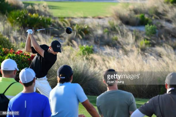 Jordan Spieth plays his shot from the 15th tee during the third round of the Hero World Challenge at Albany course on December 2 2017 in Nassau...
