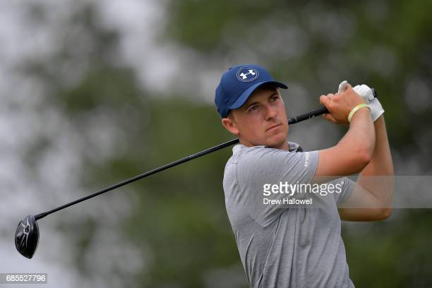 Jordan Spieth plays his shot from the 18th tee during Round Two of the ATT Byron Nelson at the TPC Four Seasons Resort Las Colinas on May 19 2017 in...