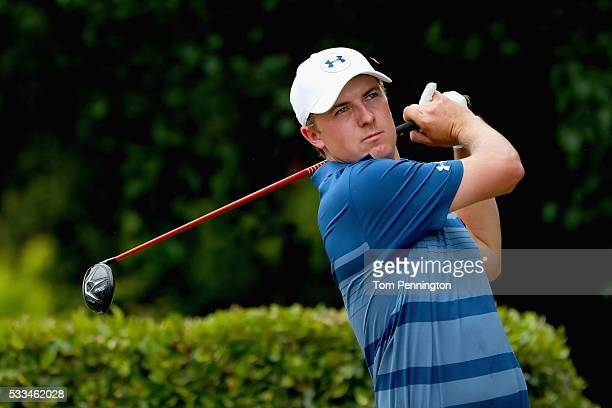 Jordan Spieth plays his shot from the first tee during the Final Round at ATT Byron Nelson on May 22 2016 in Irving Texas