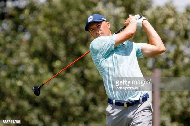Jordan Spieth plays his shot from the ninth tee during the second round of the Dean Deluca Invitational on May 26 2017 at Colonial Country Club in...
