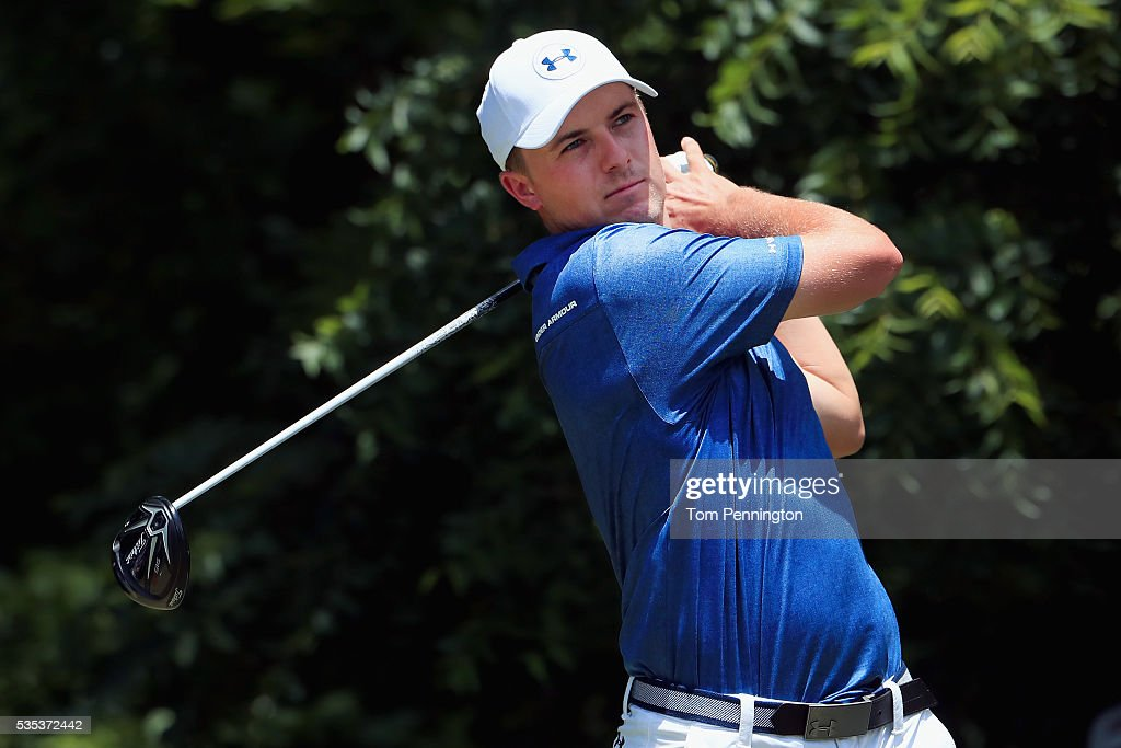 <a gi-track='captionPersonalityLinkClicked' href=/galleries/search?phrase=Jordan+Spieth&family=editorial&specificpeople=5440480 ng-click='$event.stopPropagation()'>Jordan Spieth</a> plays his shot from the sixth tee during the Final Round of the DEAN & DELUCA Invitational at Colonial Country Club on May 29, 2016 in Fort Worth, Texas.