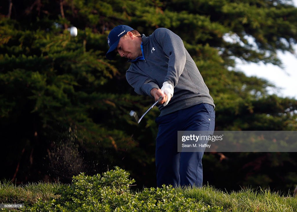 <a gi-track='captionPersonalityLinkClicked' href=/galleries/search?phrase=Jordan+Spieth&family=editorial&specificpeople=5440480 ng-click='$event.stopPropagation()'>Jordan Spieth</a> plays his tee shot on the 11th hole during the second round of the AT&T Pebble Beach National Pro-Am at the Monterey Peninsula Country Club (Shore Course) on February 12, 2016 in Pebble Beach, California.