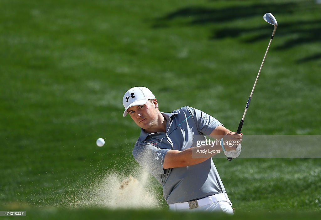 Jordan Spieth plays his third shot on the second hole during the quarterfinal round of the World Golf Championships Accenture Match Play Championship...
