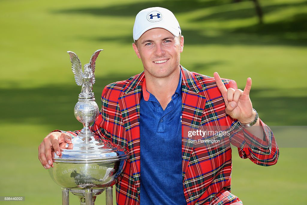 <a gi-track='captionPersonalityLinkClicked' href=/galleries/search?phrase=Jordan+Spieth&family=editorial&specificpeople=5440480 ng-click='$event.stopPropagation()'>Jordan Spieth</a> poses with the trophy after winning the DEAN & DELUCA Invitational at Colonial Country Club on May 29, 2016 in Fort Worth, Texas.