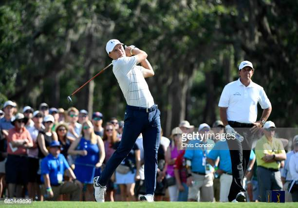 Jordan Spieth prepares to play his shot during the second round of THE PLAYERS Championship on THE PLAYERS Stadium Course at TPC Sawgrass on May 12...