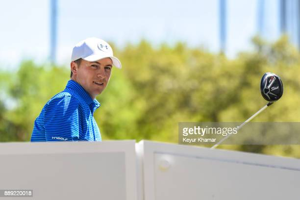 Jordan Spieth prepares to tee off on the second hole during round two of the World Golf Championships Dell Technologies Match Play at Austin Country...