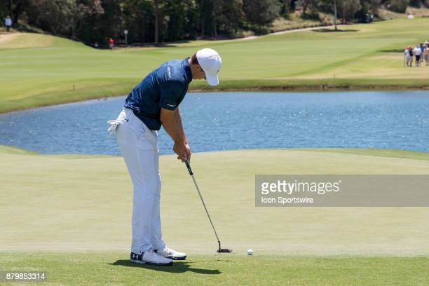 Jordan Spieth putts at the final round of the 102nd Australian Open Golf Championship at The Australian Golf Club in Sydney on November 26 2017